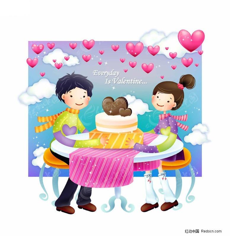 分享蛋糕矢量图_新人情侣