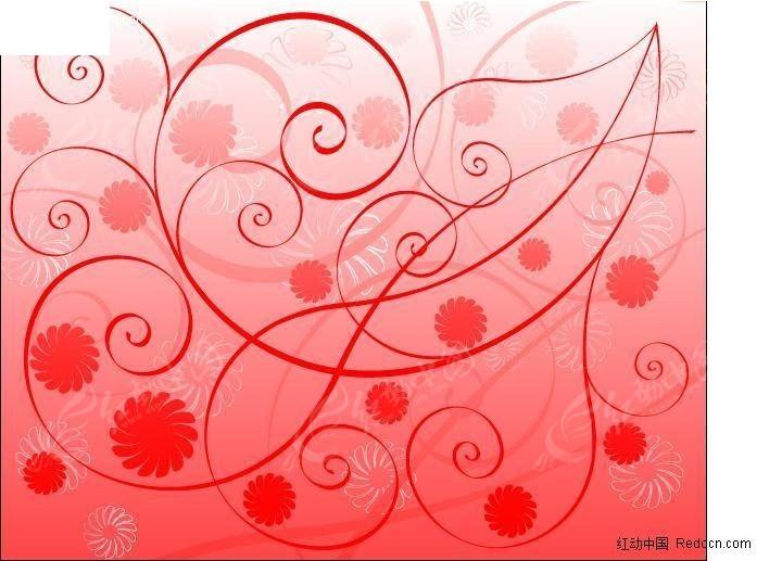 喜庆红色星星花植物花纹矢量图