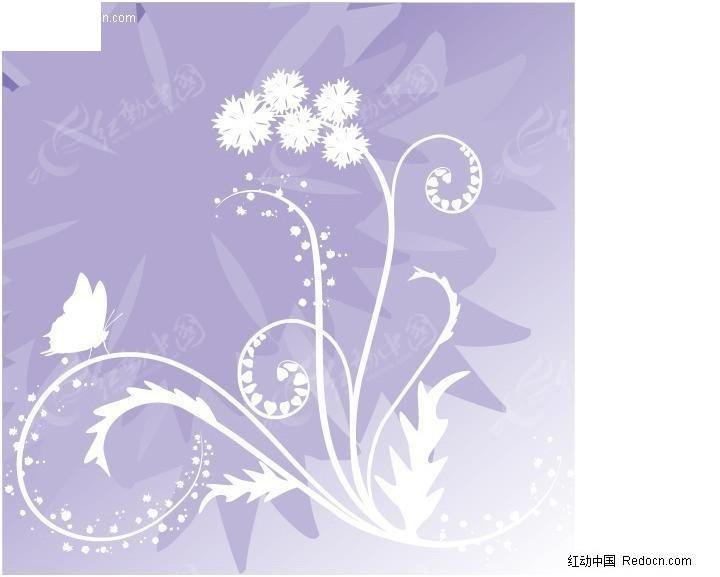 免费素材 矢量素材 花纹边框 花纹花边 蝴蝶梦幻花植物花纹矢量图