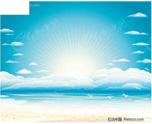 阳光,大海,沙滩矢量素材