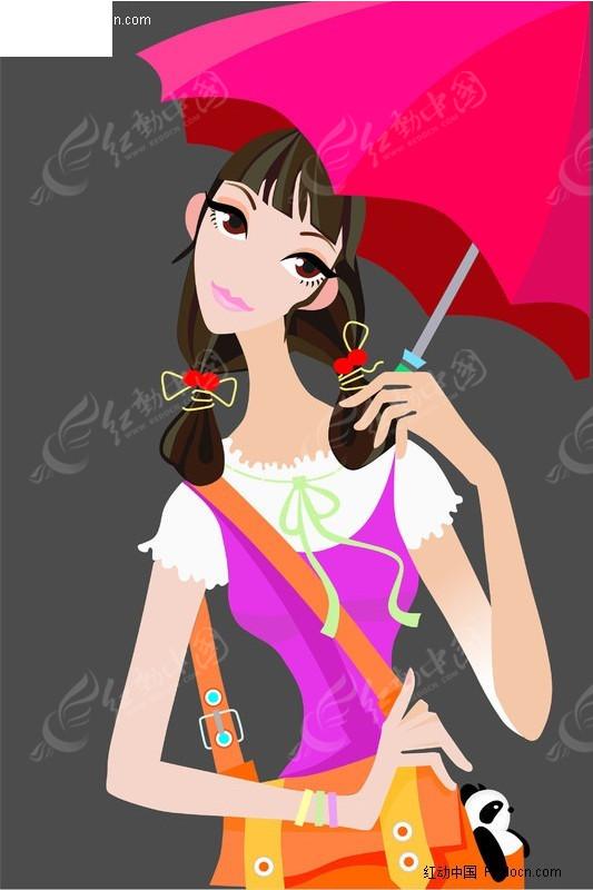 人物 矢量卡通 招贴 撑伞美女 美女 女性 女人 女子 美女图片 女人