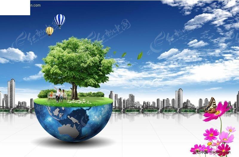 圆形球体主题城市风景