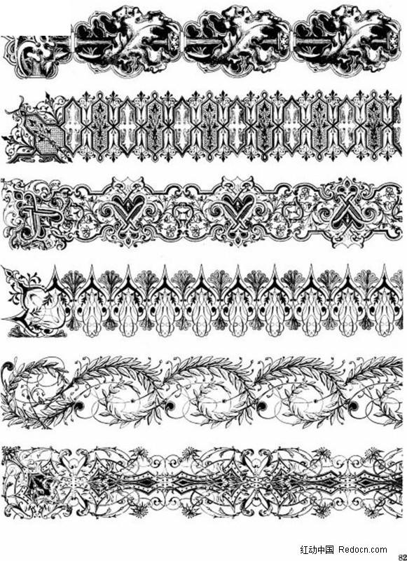 欧式古典二方连续花纹 花边 花纹  花纹素材 花边素材 矢量素材
