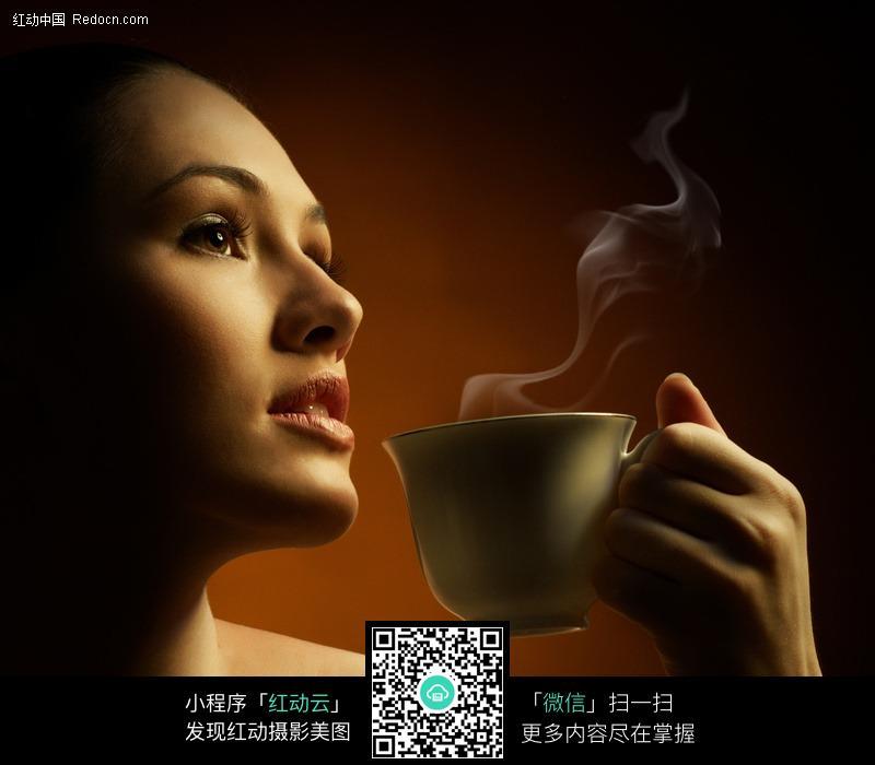 喝咖啡的外国美女图片女性女人 人物图片