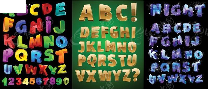 字_英文字体; 立体英文字母矢量艺术字(编号:294221); 手写数字艺术字图片