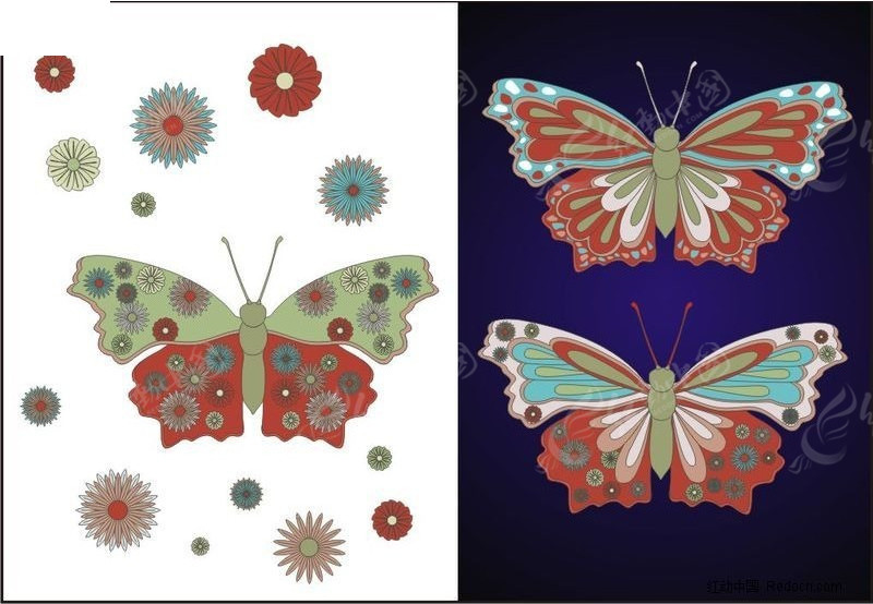 花蝴蝶cdr免费下载_印花图案素材