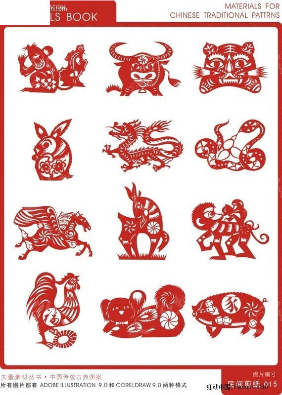 中国传统古典图案 十二生肖剪纸矢量图