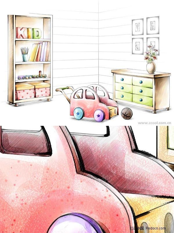 手绘风格儿童房储物柜玩具效果图