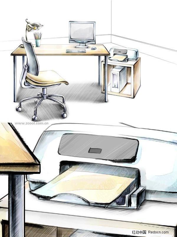 手绘办公室布置效果图