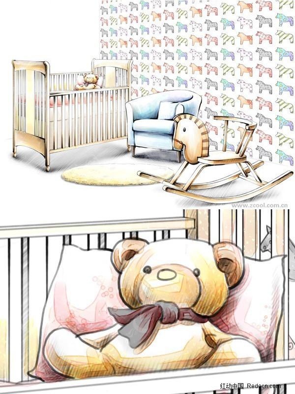 手绘婴儿房素材