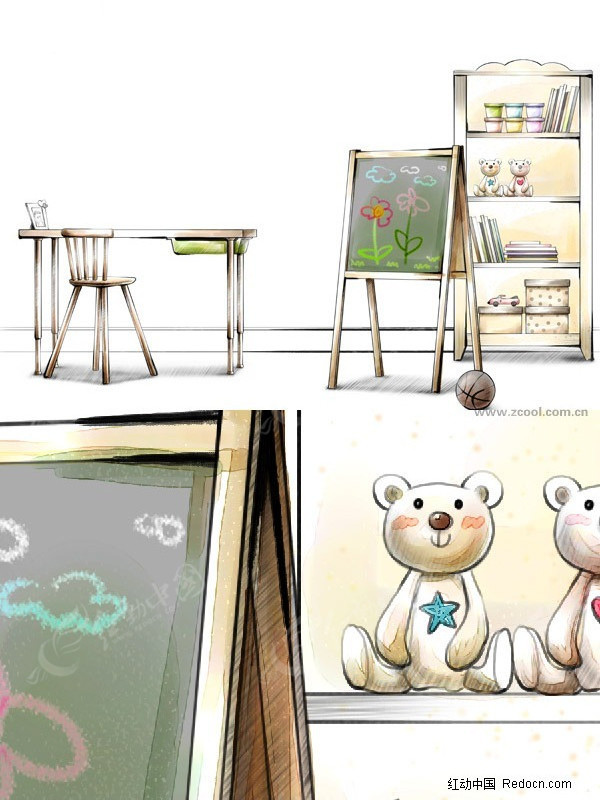 手绘风格儿童房图片