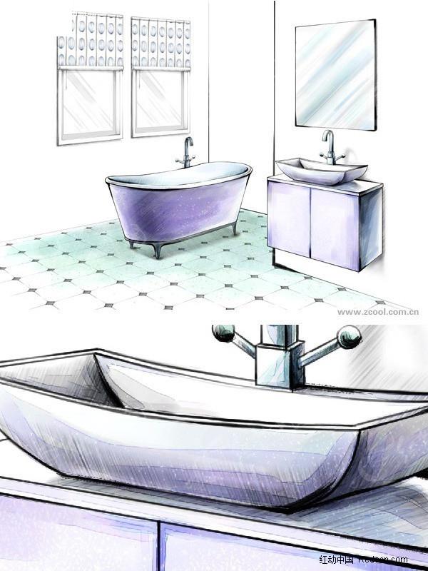 手绘风格卫生间图片