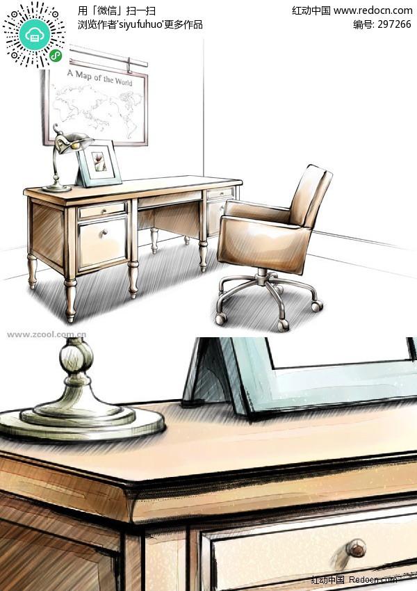 手绘写字台图片_室内设计