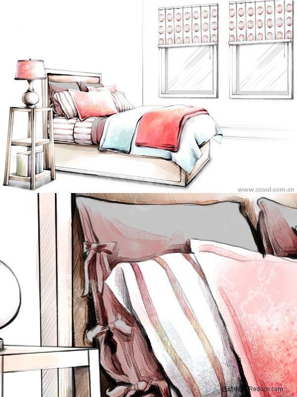单人床的手绘效果图