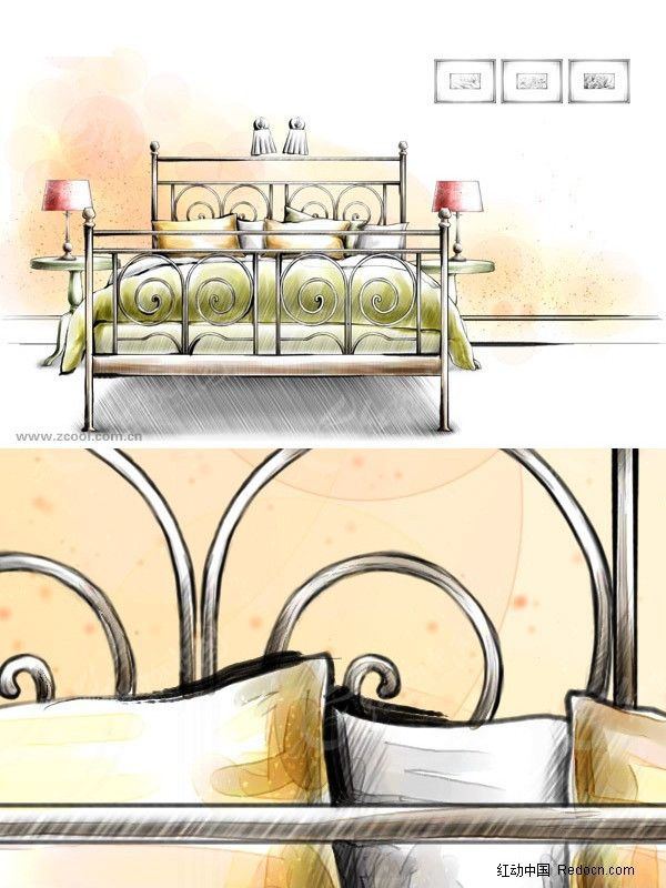室内卧室手绘效果图