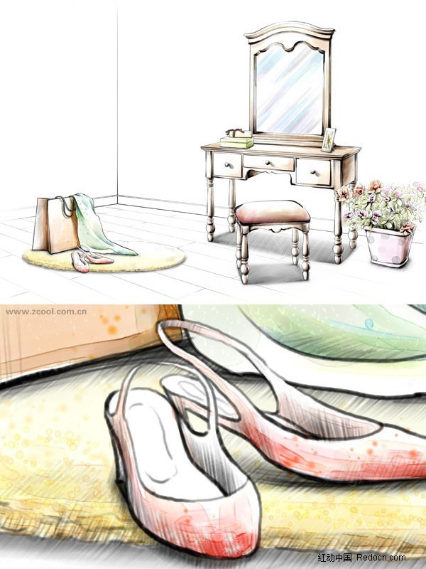 室内设计手绘效果图 梳妆台高清图片