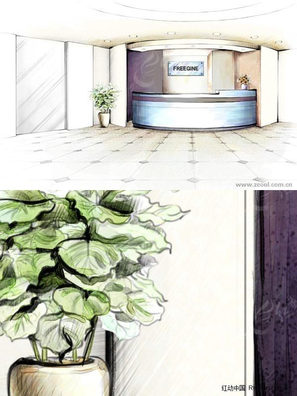 宾馆前台手绘效果图_室内设计_红动手机版