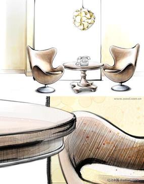 手绘风格会客室素材
