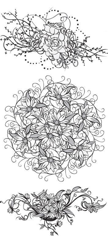 花卉 花朵 线条花纹 黑白花纹 花纹 花纹素材 花边 花边素材  矢量