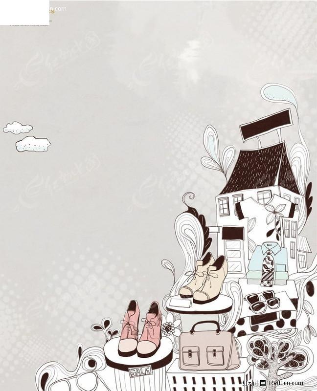 手绘服装店涂鸦插画