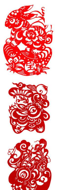 2011兔年剪纸psd素材_元旦春节
