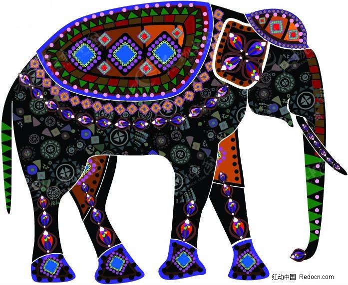 民族风情装饰画(大象)矢量图