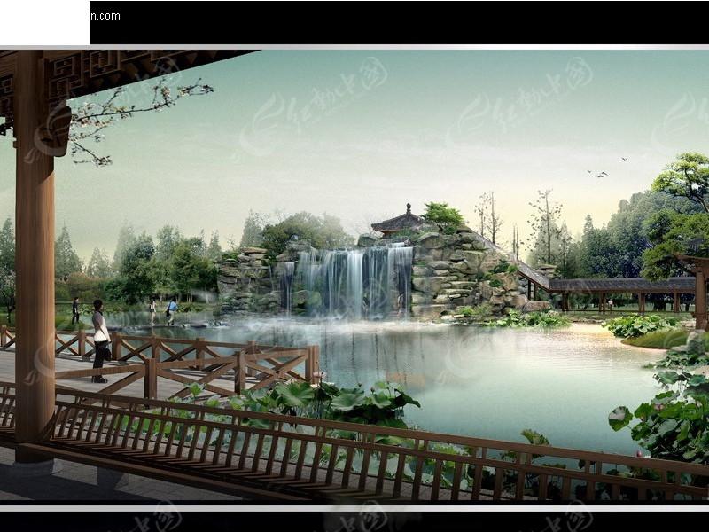 古建园林 古代建筑 园林 园林景致 亭子 池塘 长廊 瀑布 假山  园林