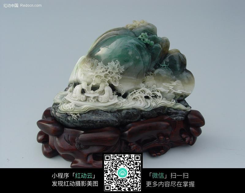 山水树木玉石雕刻工艺品图片