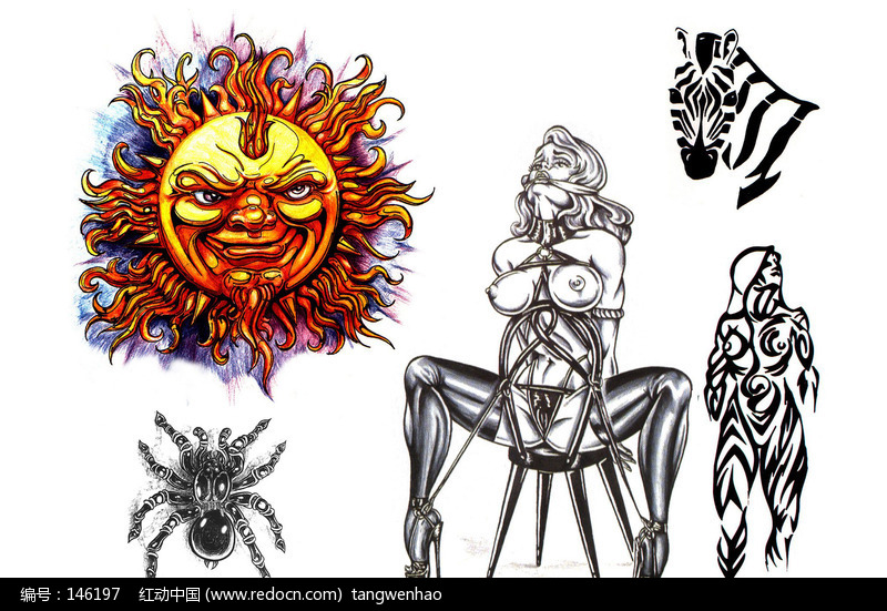 被捆的裸体美女手绘纹身图案