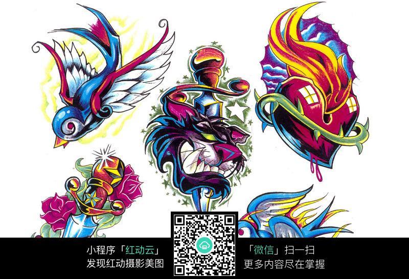 飞翔的小鸟手绘纹身图案