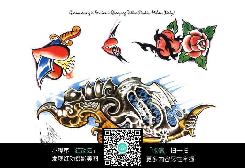 玫瑰主题手绘纹身图案
