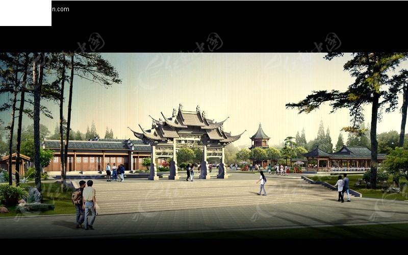 古建园林公园场景渲染效果图psd分层素材