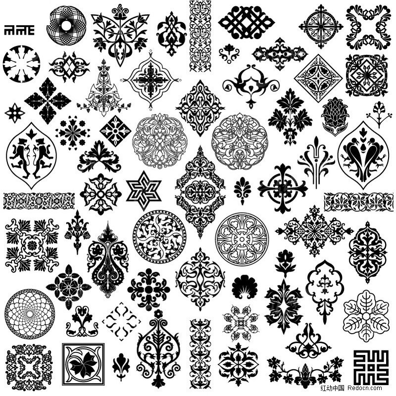 传统古典印花图案 花纹 适合纹样  印花图案 矢量素材