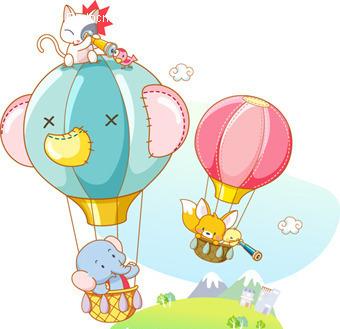 坐着热气球的小动物图片