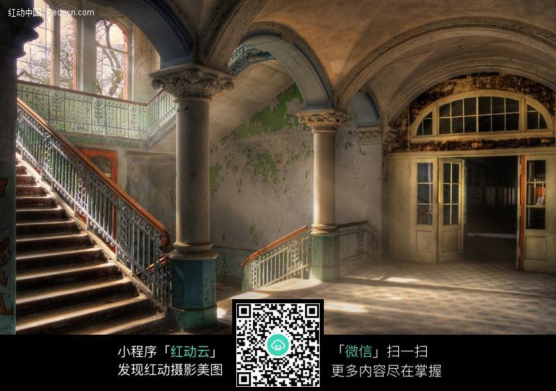 楼梯 欧式建筑 柱子 室内设计 摄影图片图片