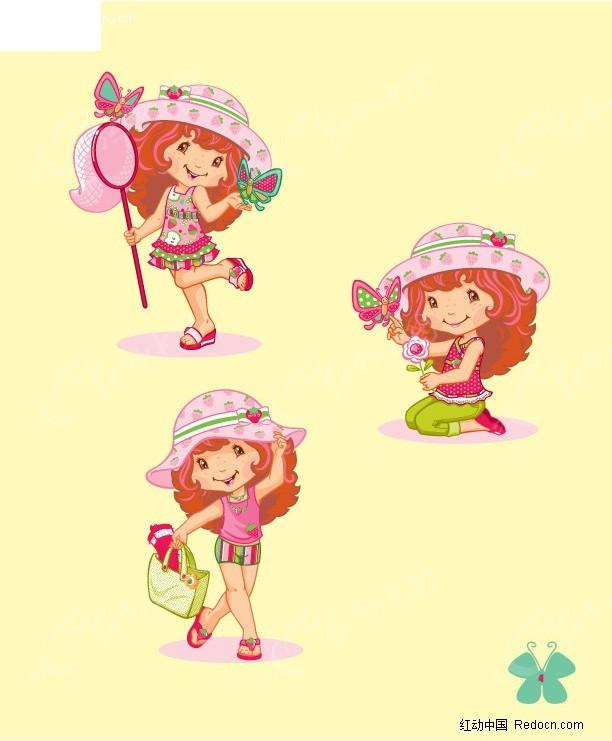 草莓女孩郊游 花 蝴蝶  卡通人物 卡通人物图片 漫画人物 人物素材