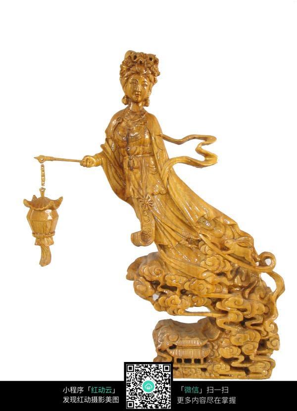 古代木制工艺-提着灯笼的仙女