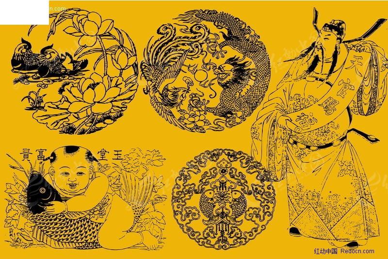 彝族传统图案 彝族的牛拉车传统图案 门窗上古代传统图案木雕 古代