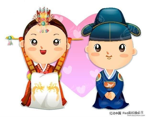 免费素材 矢量素材 矢量人物 新人情侣 q版卡韩国古装新婚娃娃矢量