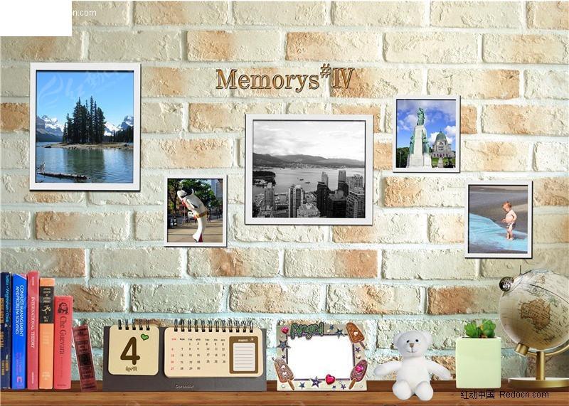 墙壁上的相片与桌面上的书