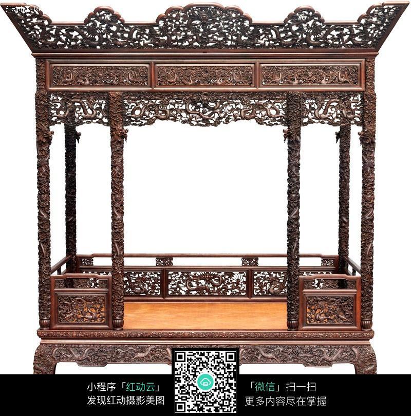 古典家具-木雕雕花木床特写