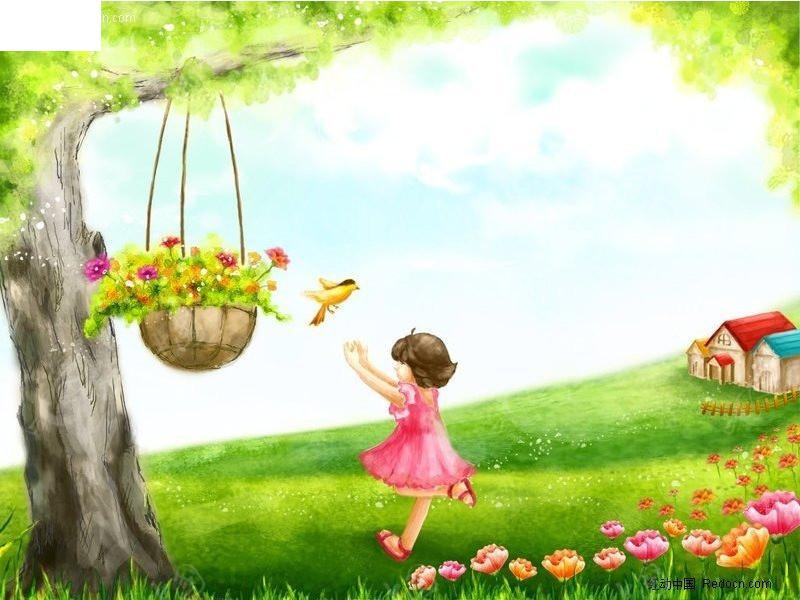快乐的小女孩插画