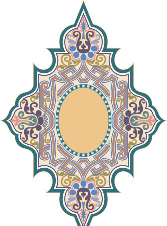 欧式古典的彩色适合纹样