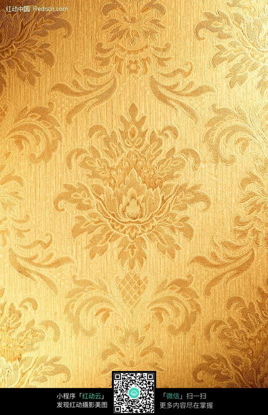 金色欧式花纹布纹纹理背景图片