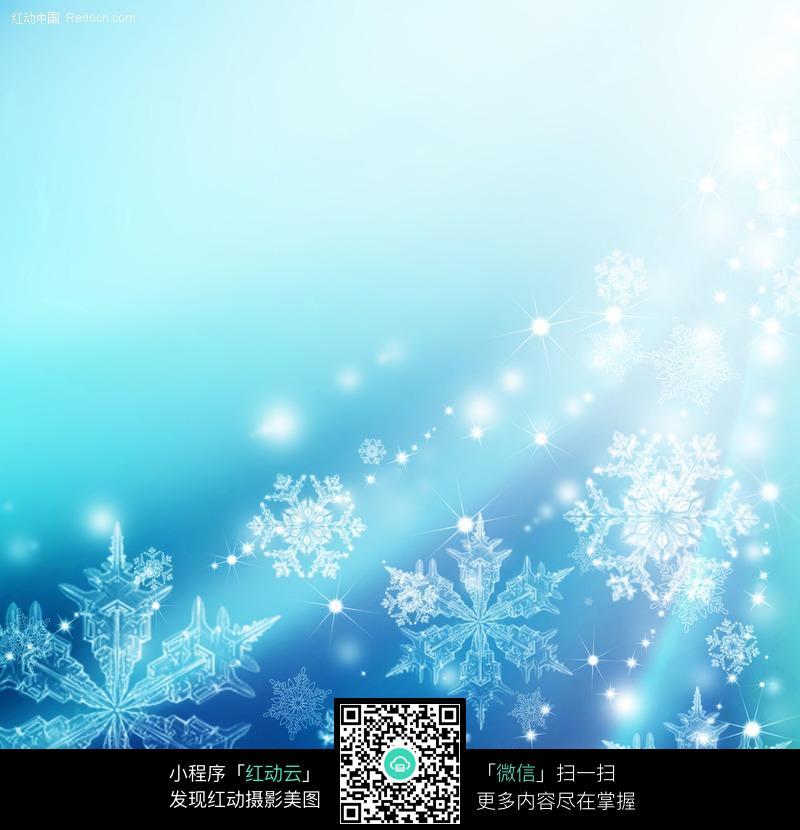 梦幻蓝色圣诞雪花背景