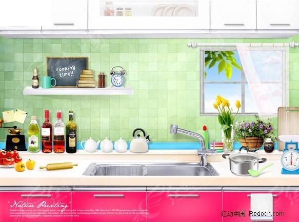 厨房各种用品摆件图片素材图片