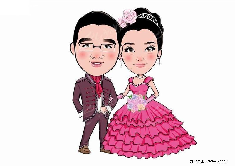 简笔画的新郎新娘形象