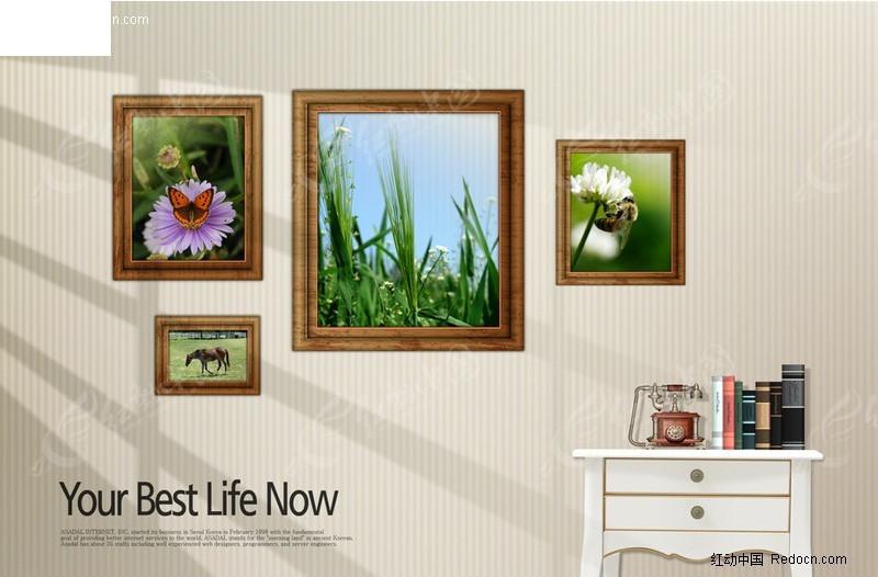 室内照片墙图片素材