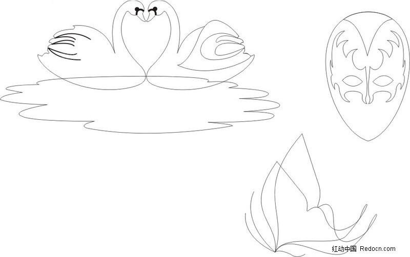 可爱卡通白天鹅简笔画