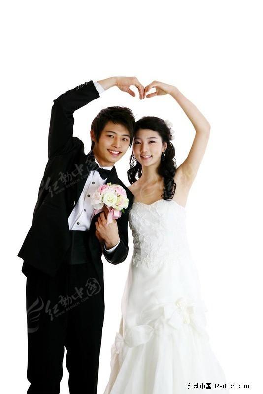 做心形的婚纱情侣图片素材图片